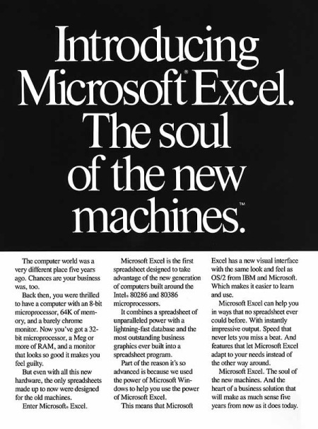 An old ad for Microsoft Excel